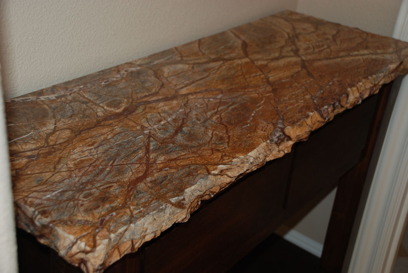 Rainforest-Brown-entry-table-chiseled-edge